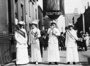 Un immagine di suffragette a New York, inizio 900