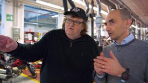 Italy, Michael Moore visita lo stabilimento della Ducati