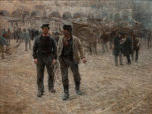 """""""Piazza Caricamento"""", Plinio Nomellini, Brera 1891"""