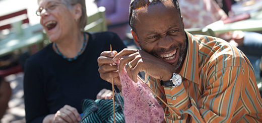 From left, Jill Coelho, retired librarian, Widener Library, and Leon Welch, Leon Welch, Purchasing Assistant, Harvard University Health Services are members of a Harvard knitting circle that meets together outside Lehman Hall at Harvard University. Kris Snibbe/Harvard Staff Photographer