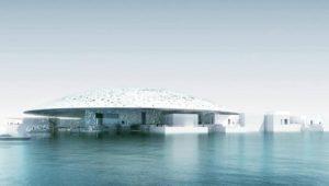Veduta dal mare del Louvre Abu Dhabi