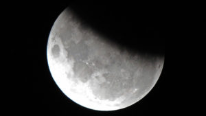 The moon is 37 per cent obscured by the Earth's shadow during the partial lunar eclipse above Sydney on June 4, 2012. A partial eclipse occurs when Earth slides between the Moon and the Sun, casting a shadow over its satellite. AFP PHOTO / Torsten BLACKWOOD (Photo credit should read TORSTEN BLACKWOOD/AFP/GettyImages)