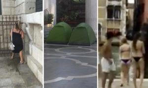Immagini del degrado turisti Venezia