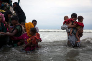 On 7 September 2017, newly arrived Rohingya refugees walk ashore at Shamlapur beach in Cox's Bazar district, Chittagong Division in Bangladesh, after traveling for 5 hours in a boat across the open waters of the Bay of Bengal. By 5 September 2017, more than 146,000 Rohingya refugees fled across the border from Rakhine State, Myanmar, into Cox's Bazar district, Chittagong Division in Bangladesh since 25 August. As many as 80 per cent of the new arrivals are women and children. More than 70 000 children need urgent humanitarian assistance. More than 100,000 of the newly arrived refugees are currently residing in makeshift settlements and official refugee camps that are extremely overcrowded while 10,000 newly arrived refugees are in host communities. In addition, 33,000 arrivals are in new spontaneous sites, which are quickly expanding. While some refugees are making their own shelters, the majority of people are staying in the open, suffering from exhaustion, sickness and hunger. Cox's Bazar district of Bangladesh is one of the most vulnerable districts, not only for its poor performance in child related indicators but also for its vulnerability to natural hazards. Most people walked 50 or 60 kilometers for up to six days and are in dire need of food, water and protection. Many children are suffering from cold fever as they are drenched in rain and lack additional clothes. Children and adolescents, especially girls, are vulnerable to trafficking as different child trafficking groups are active in the region. Many more children in need of support and protection remain in the areas of northern Rakhine State that have been wracked by violence. In Bangladesh, UNICEF is scaling up its response to provide refugee children with protection, nutrition, health, water and sanitation support. With the recent influx of refugees, demand has increased and UNICEF is working to mobilize more support and strengthen its existing activities. For recreational and psychosocial suppo