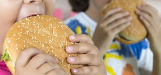 patatine e bevande bambini in sovrappeso